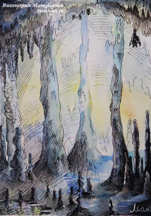Рисунки акварелью и гелевой ручкой